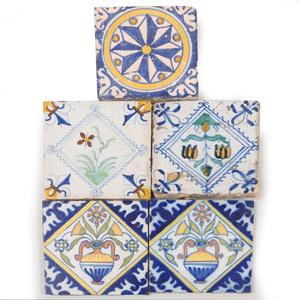 Four Delft Polychrome Tiles