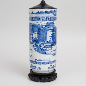 Chinese Blue and White Porcelain Cylindrical Vase, Mounted as a Lamp