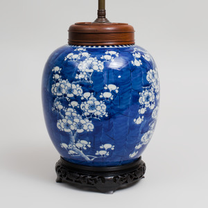 Chinese Blue and White Porcelain Ginger Jar Mounted as a Lamp
