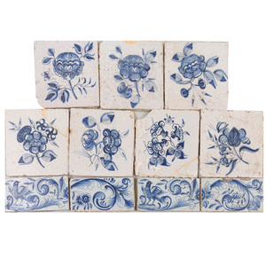 Group of Eleven Delft Blue and White Tiles