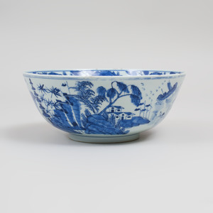 Chinese Blue and White Porcelain Punch Bowl
