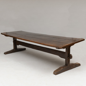 Continental Provincial Baroque Stained Oak Trestle Table