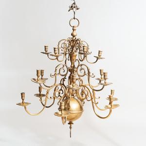 Dutch Brass Eighteen-Light Chandelier