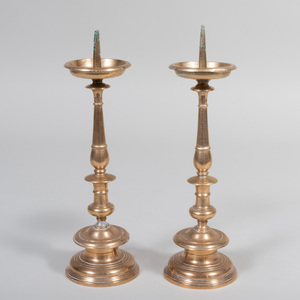 Pair of Continental Brass Pricket Sticks