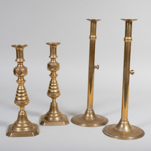 Pair of English Brass Candlesticks and a Pair of Continental Brass Telescoping Candlesticks