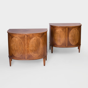 Pair of George III Style Inlaid Mahogany D-Shaped Commodes