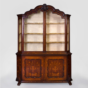 Dutch Rococo Fruitwood Inlaid Oak Bookcase, 18th Century