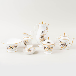 Paris Porcelain Sepia and Gilt-Decorated Tea and Coffee Service Decorated with Birds