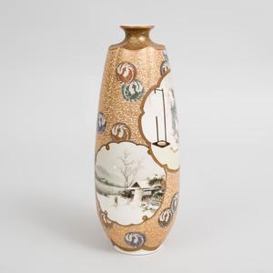 Japanese Satsuma Porcelain Lobed Vase