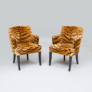 Pair of Tiger Velvet Chairs, Upholstered in Luigi Bevilacqua Fabric, Venice