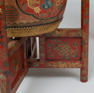 Pair of Chinese Red Lacquer and Parcel-Gilt Drum Form Tables, with Stands