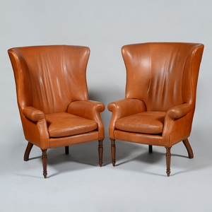 Pair of Leather Upholstered Armchairs
