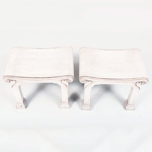 Pair of George III Style Painted Hall Stools, of Recent Manufacture