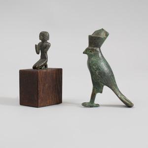 Egyptian Bronze Figure of Horus and a Bronze Miniature Kneeling Figure
