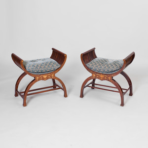 Pair of Edwardian Inlaid Mahogany Curule-Form Stools