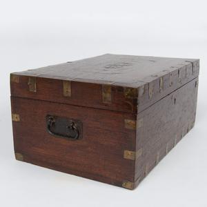 Continental Brass-Inlaid Wood Traveling Box
