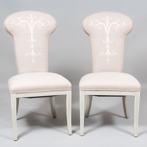 Pair of Upholstered Hall Chairs, Modern