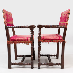 Near Pair of Continental Baroque Style Walnut Armchairs, probably Italian