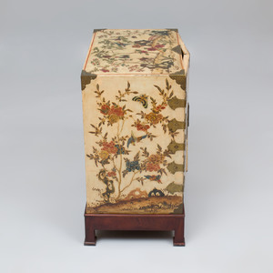 Chinese Brass-Mounted White and Polychrome Lacquer Cabinet
