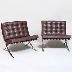 Pair of Knoll Chrome and Leather 'Barcelona' Chairs