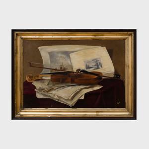 European School: Trompe L'oeil Still Life with Violin
