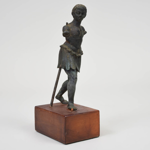 Continental Bronze Model of a Figure in a Feather Skirt, After the Antique