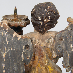 Pair of Italian Baroque Style Giltwood Angel Form Pricket Sticks