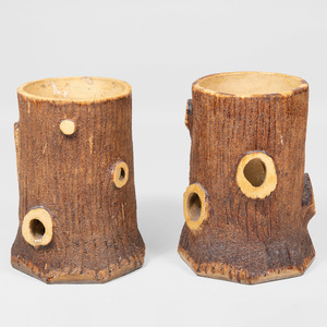 Pair of French Glazed Pottery Tree Trunk Form Planters