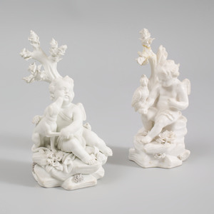 Pair of Derby Smear Glazed Biscuit Figures of Cherubs as Huntsmen