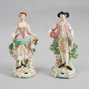 Pair of Derby Porcelain Figures of French Shepherds