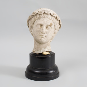 Roman Style Carved Marble Head of a Youth