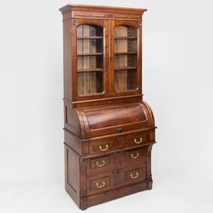 Victorian Mahogany Roll Top Secretary Bookcase