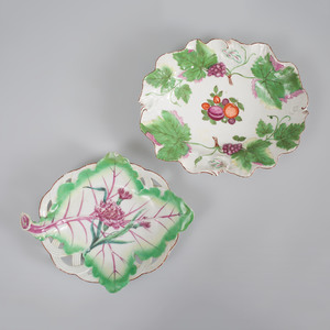 Chelsea Porcelain Deep Oval Dish and a Leaf Shaped Dish