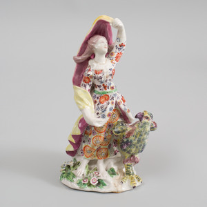 Bow Porcelain Figure of a Juno Emblematic of Air
