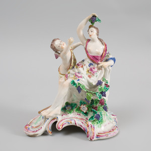Bow Porcelain Figure Group of Venus and Cupid Emblematic of Autumn