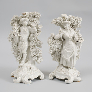 Pair of Plymouth (Hard Paste) White Glazed Porcelain Candlestick Figures of a Gardner and Companion