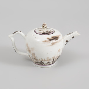 Meissen Schwarzlot Teapot and Cover