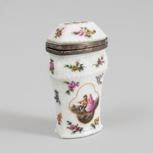 Silver-Mounted Meissen Porcelain Needle Case
