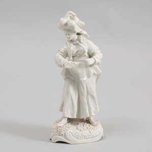 Frankenthal White Glazed Porcelain Chinoiserie Figure of a Lady