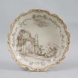 Vienna Porcelain (Du Paquier) Schwarzlot Shallow Bowl