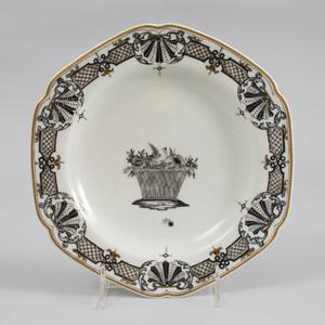 Vienna Porcelain (Du Paquier) Schwarzlot Hexagonal Plate