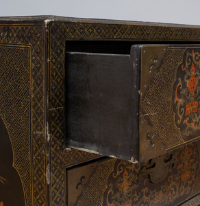 Chinese Export Metal-Mounted Black Lacquer and Parcel-Gilt Chest of Drawers