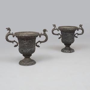 Pair of English Lead Garden Urns