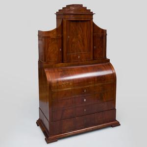 Danish Neoclassical Inlaid Mahogany Roll-Top Secretary