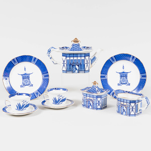 Mottahedeh Transfer Printed Blue and White Part Porcelain Dessert Service in the 'Pagoda' Pattern