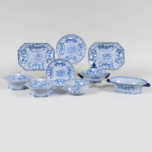 English Blue and White Transfer Printed Porcelain Part Service in the 'William Adams' Pattern