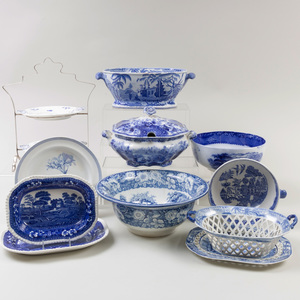 Group of English Blue Transfer Printed Serving Wares