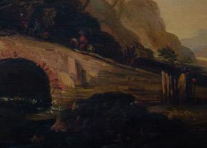 School of Salvator Rosa (1615-1673): Landscape with Bridge