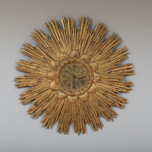 Continental Giltwood Sunburst Clock