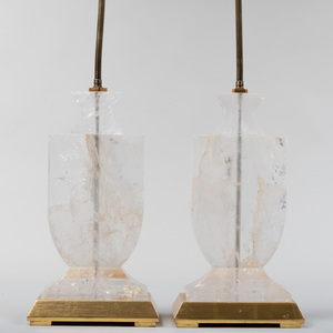 Pair of Modern Rock Crystal Urn Form Lamps